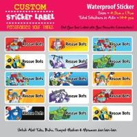 Sticker Label Nama Waterproof - Rescue Bots - sticker vynil