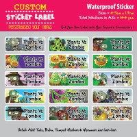 Sticker Label Nama Waterproof - Plants Vs Zombies - stiker vynil