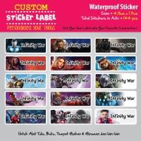 Sticker Label Nama Waterproof - Infinity War - sticker vynil