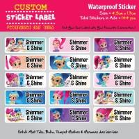 Sticker Label Nama Waterproof - Shimmer and Shine - stiker vynil
