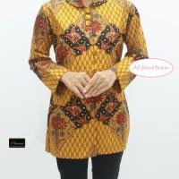 Blouse batik wanita cewek formal kuning emas elegan zaman now premium
