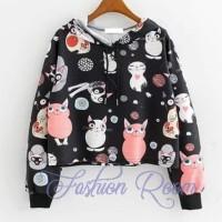 sweater cat hoodie atasan kaos cewek wanita remaja abg lengan panjang