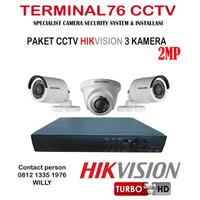 PAKET CCTV HIKVISION 2MP 4CH 3 CAMERA FULL HD KOMPLIT TINGGAL PASANG