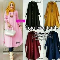 Blouse Baju Muslim Blus Muslim Lesa Long Tunik - Pink, M