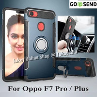 Oppo F7 Pro Plus New Luxury Armor Hard Soft Carbon Case Stand Ring