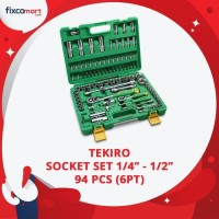 Tekiro Socket Set 1/4-1/2 Inch 94 Pcs 6PT / Tekiro Sock Set 94 Pcs