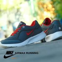 Sepatu Sport Nike Airmax Running - Abu Tua Merah - Gym Olahraga Santai