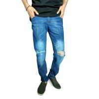 Celana Jeans Sobek Pria / Ripped Jeans Blue Wash/ Jeans Standar Sobek