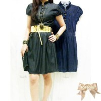 TSD1227-BlueDenim+Belt , mini dress, gratis tali pinggang emas, lengan