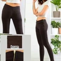 TSP1304 - Brown , celana panjang ketat bahan oblique coklat stretch