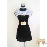 TSD1248-Black+Belt , dress hitam, gratis belt, spandek lace / renda