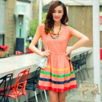TSD1289-Orange , mini dress jingga bahan spandek, lengan pendek, sablo