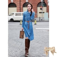 TSD1290-Blue+Belt , denim long dress, bahan jeans asli, lengan panjang