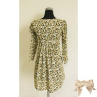 TSD1252-GREEN , MINI DRESS MOTIF FULL FLOWER, LENGAN PANJANG - SH375
