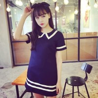 TSD1345-Blue mini dress kawaii biru strip putih import terusan jepang