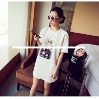 C05 TSD1348-White short dress big blouse import unik textured emboss
