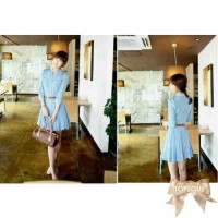 TSD1260-Blue , dress lengan panjang, pocket / saku dad kanan-kiri, fre