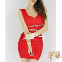 TSD1299-Red , import, party dress, merah, red glamour, has chest pad,