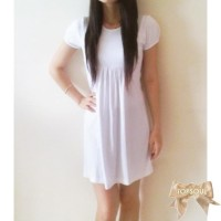 L98 TSD1218-WHITE , DRESS / TERUSAN WARNA PUTIH BAHAN SPANDEK - PW208