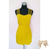 Z43 TSD1300-Yellow+Belt , dress sexy, gratis belt, bahu tali silang