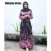 Dress hibiscus-gamis bunga-gamis murah-gamis premium