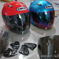 Helm ink Centro kaca hitam silver dan pelangi not kyt mds gm nhk bogo