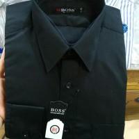 Kemeja Boss polos panjang Slim fit DoNgker , maroon , hitam , biru
