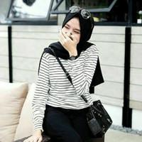 Kaos Wanita Salur/Stripe/Garis Lengan Panjang