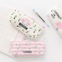 Pencil Case Kotak Pensil Flamingo Kanvas/ Tas Make up bag