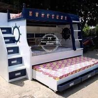 Kamar Set Anak Jati - Dipan/Tempat Tidur Tingkat + Rak Free Ongkir