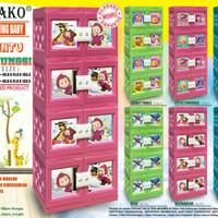AKAKO - Lemari Plastik baby motif Printing susun 3