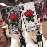 Smile Case With Relief Flower Embros For Oppo F3 & Strap