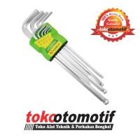 Kunci L Set Ballpoint Panjang 9 pcs 1.5-10mm NANKAI / Long Hex Key