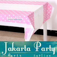 Table Cover Pink Soft Polkadot /Taplak Meja Plastik Pink Soft Polkadot
