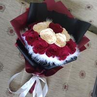 Buket bunga mawar flanel untuk hadiah wisuda, anniv, ultah, dll