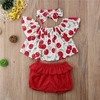 baju bayi setelan sabrina motif buah ceri dengan headband