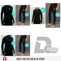 Paket Setelan Baselayer & Celana Panjang Gym Fitness Training Jogging