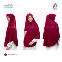 Jilbab Instan AMIRA Antem Bahan Kaos Merah Marun Size L - Jilbab Afra