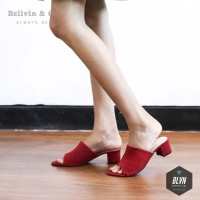 Sepatu Wanita Mulan Suede Heels - Merah afh