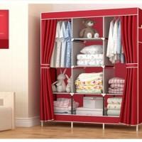 GY28 Motif Rak Baju Serbaguna Lemari Pakaian Merah Maroon