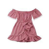 Baju bayi dress sabrina kotak-kotak merah for baby girl