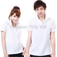 VM Couple Kaos Polos Shirt Polos Putih - Kaos Pasangan Polos