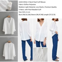 WST 22233 White V Neck Pearl Cuff Blouse Baju Putih Lengan Panjang