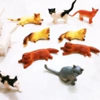 mainan anjing kucing cat and dog action figure karet set little figure
