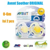 Avent Empeng Soother Night Time Original Baby Bayi 0-6M 6-18M Isi 2