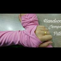 Manset Tangan Jempol Pita Senada Umroh Haji Manset Fingerless Handsock