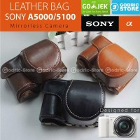 Sony Alpha A5000 / A5100 Leather Bag / Case / Tas Kamera Mirrorless - Hitam