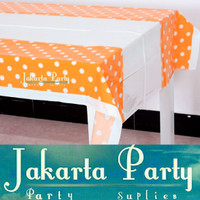 Table Cover / Taplak Meja / Taplak Meja Motif Orange polkadot
