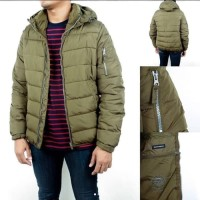 Jaket Pull And Bear Puffer Olive Jacket Original Winter Musim Dingin