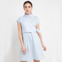 Miyoshi Jeans MY18DR153PN Midi Dress Short Sleeve Blue White